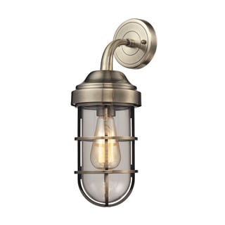 Elk Seaport 1-light Wall Sconce in Antique Brass and Clear Glass