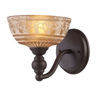Elk Norwich 1-light Wall Sconce in Oiled Bronze and Amber Glass