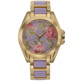 Romilly Women's Rose Bud Purple Enamel Goldtone Floral Patterned Dial Watch