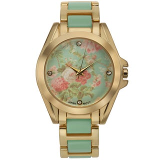 Romilly Women's Rose Bud Green Enamel Goldtone Floral Patterned Dial Watch