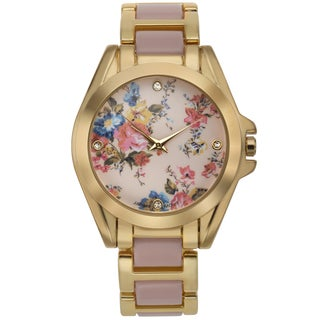 Romilly Women's Rose Bud Pink Enamel Goldtone Floral Patterned Dial Watch