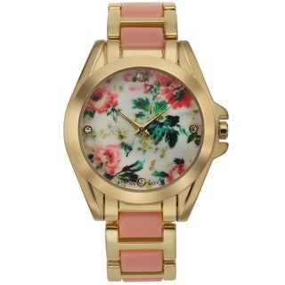 Romilly Women's Rose Bud Red Enamel Goldtone Floral Patterned Dial Watch