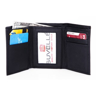 Suvelle Trifold Men's Genuine Leather RFID Wallets Slim Travel Wallet