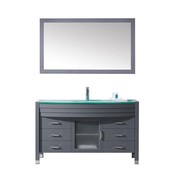 Virtu Usa Ava 55 Inch Grey Double Bathroom Vanity Cabinet
