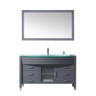 Virtu USA Ava 55-inch Grey Double Bathroom Vanity Cabinet Set