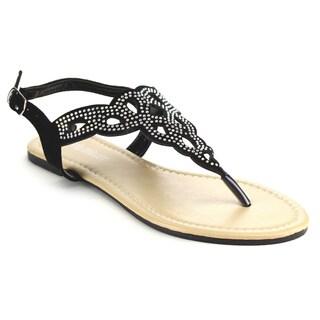Olivia Miller Omm-8655 Rhinestones Flat Sandals