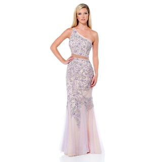 Terani Couture Pink Two Piece Long Prom Gown with Asymmetrical Neck
