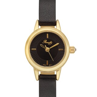 Romilly Women's Jolliet Black Genuine Leather Goldtone Watch