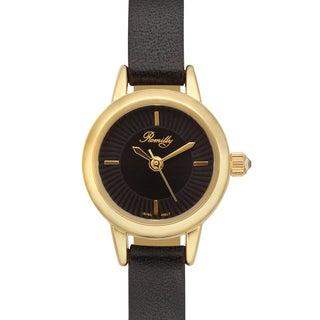 Romilly Women's Jolliet Black Genuine Leather Goldtone Watch