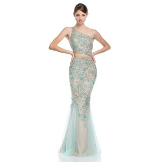 Terani Couture Aqua Two Piece Long Prom Gown with Asymmetrical Neck