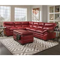 Simmons Upholstery Soho Cardinal Leather Sectional and Storage Ottoman