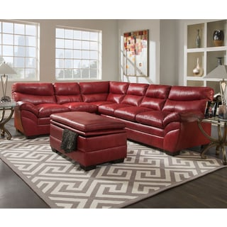 Beau Simmons Upholstery Soho Cardinal Leather Sectional And Storage Ottoman