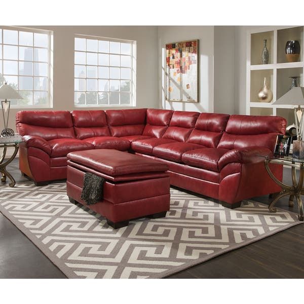 Terrific Simmons Upholstery Soho Cardinal Leather Sectional And Storage Ottoman Ocoug Best Dining Table And Chair Ideas Images Ocougorg