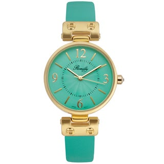 Romilly Women's Nova Green Genuine Leather Multi-textured Dial Watch