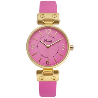 Romilly Women's Nova Pink Genuine Leather Multi-textured Dial Watch