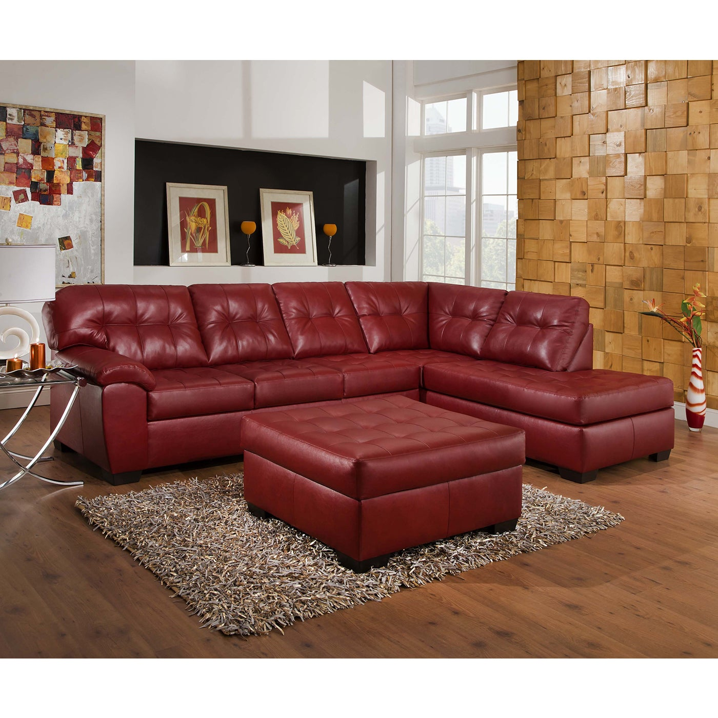 Simmons Upholstery Soho Cardinal Leather Sectional and Ot...