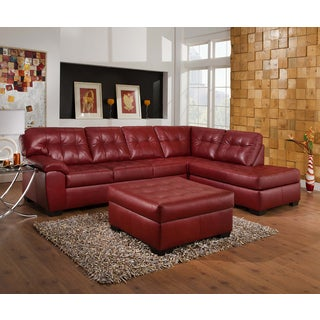 Simmons Upholstery Soho Cardinal Leather Sectional and Ottoman