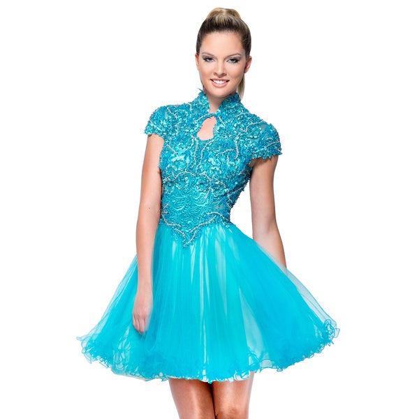 49dbbb220a3a3 Shop Terani Couture Blue Short Lace Embellished Prom Dress - Free ...