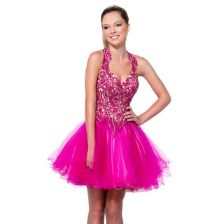 Terani Couture Pink Sequin Leaf Embellished Short Prom Gown