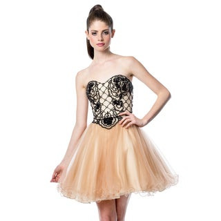 Terani Couture Black/ Beige Sweetheart Top Short Ballgown