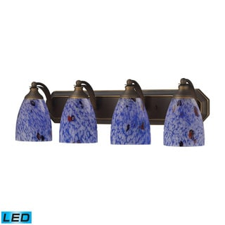 Elk Bath and Spa 4-light LED Vanity in Aged Bronze and Starburst Blue Glass