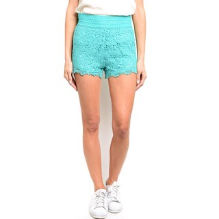 Shop the Trends Women's Fully Lined Mini Crochet Lace Shorts