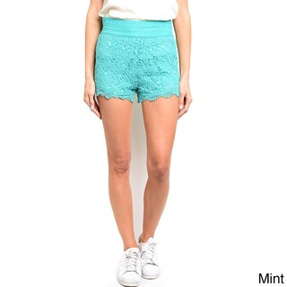 Shop the Trends Women's Fully Lined Mini Crochet Lace Shorts (Option: Mint - S)