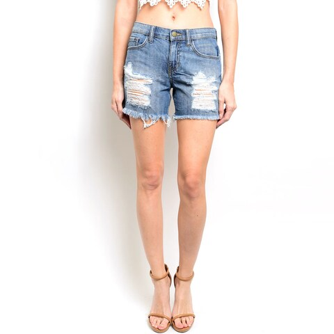 Shop the Trends Women's High Waisted Denim Shorts With Throughout Distressed Details