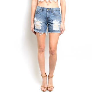 Shop the Trends Women's High Waisted Denim Shorts With Throughout Distressed Details|https://ak1.ostkcdn.com/images/products/11446600/P18405895.jpg?impolicy=medium