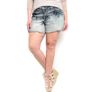 Shop the Trends Plus Size Women's Gradient Acid Wash Denim Shorts