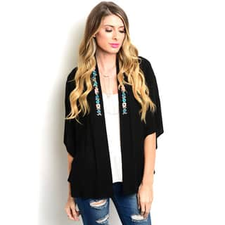 Shop the Trends Women's 3/4 Sleeve Boho Kimono Floral Embroidered Open Cardigan|https://ak1.ostkcdn.com/images/products/11446647/P18405898.jpg?impolicy=medium