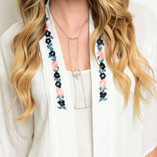 Shop the Trends Women's 3/4 Sleeve Boho Kimono Floral Embroidered Open Cardigan