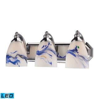 Elk Bath and Spa 3-light LED Vanity in Polished Chrome and Mountain Glass