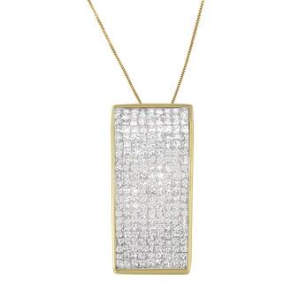 14k Yellow Gold 2 5/8ct TDW Princess Diamond Pendant (H-I,SI2-I1)