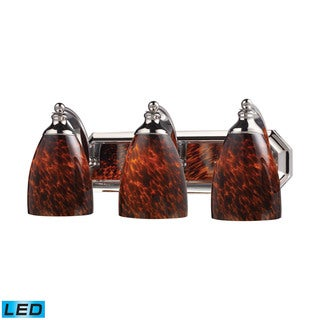Elk Bath and Spa 3-light LED Vanity in Polished Chrome and Espresso Glass