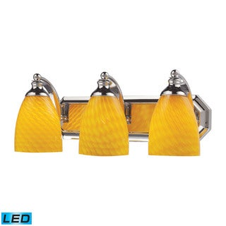 Elk Bath and Spa 3-light LED Vanity in Polished Chrome and Canary Glass