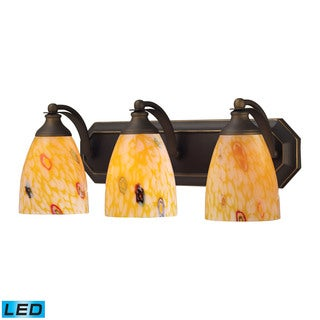 Elk Bath and Spa 3-light LED Vanity in Aged Bronze and Yellow Glass