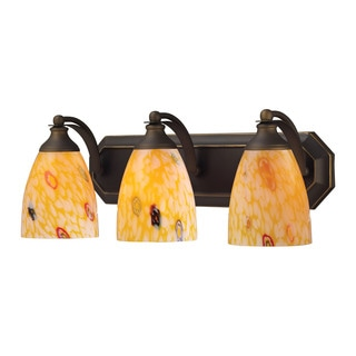 Elk Bath and Spa 3-light Vanity in Aged Bronze and Yellow Glass