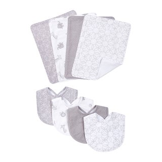 Trend lab Grey and White Circles 4 Pack Bib and 4 Pack Burp Cloth Set