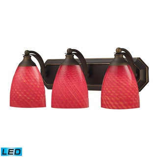 Elk Bath and Spa 3-light LED Vanity in Aged Bronze and Scarlet Red Glass