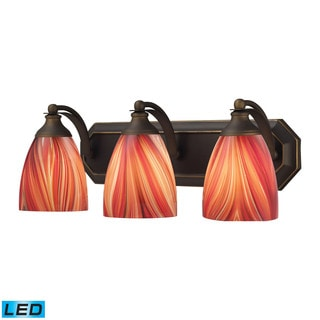 Elk Bath and Spa 3-light LED Vanity in Aged Bronze and Multi Glass
