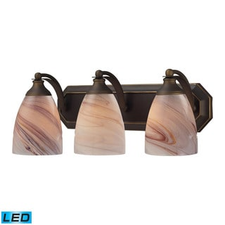 Elk Bath and Spa 3-light LED Vanity in Aged Bronze and Crme Glass