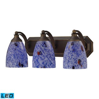 Elk Bath and Spa 3-light LED Vanity in Aged Bronze and Starburst Blue Glass