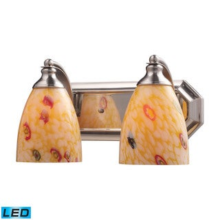 Elk Bath and Spa 2-light LED Vanity in Satin Nickel and Yellow Glass