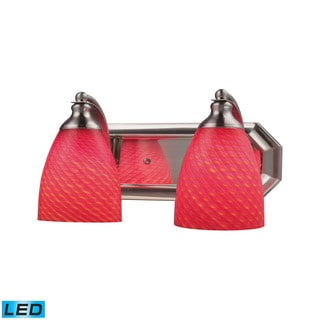 Elk Bath and Spa 2-light LED Vanity in Satin Nickel and Scarlet Red Glass