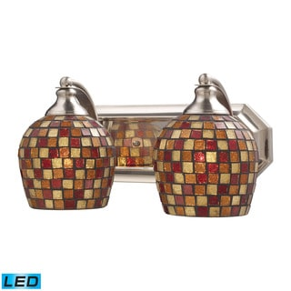 Elk Bath and Spa 2-light LED Vanity in Satin Nickel and Multi Fusion Glass