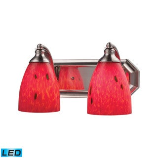 Elk Bath and Spa 2-light LED Vanity in Satin Nickel and Fire Red Glass