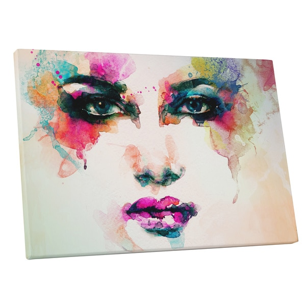 Pop Art 'Running Water Color Make Up' Gallery Wrapped Canvas Wall Art