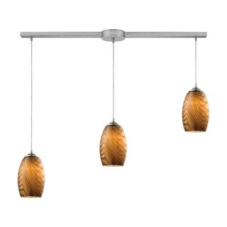 Elk Tidewaters 3-light Pendant in Satin Nickel and Amber Glass