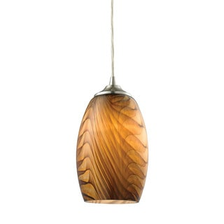Elk Tidewaters 1-light Pendant in Satin Nickel and Amber Glass